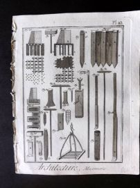 Diderot 1780's Antique Print. Architecture, Maconnerie 10 Masonry